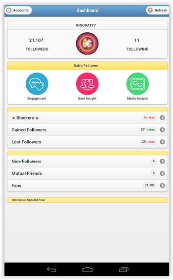 Aplicativo para Android: parar de seguir quem não te segue no Instagram