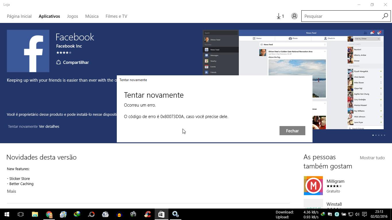 Erro ao baixar aplicativos na loja do Windows 10 0X80073D0A