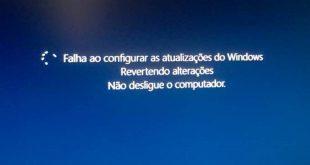 Falha ao configurar as atualizações do Windows. Revertendo alterações.