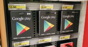 prateleira com gift card do google play