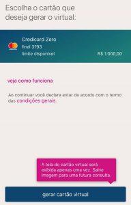 Saiba como gerar um cartão virtual do Credicard Zero