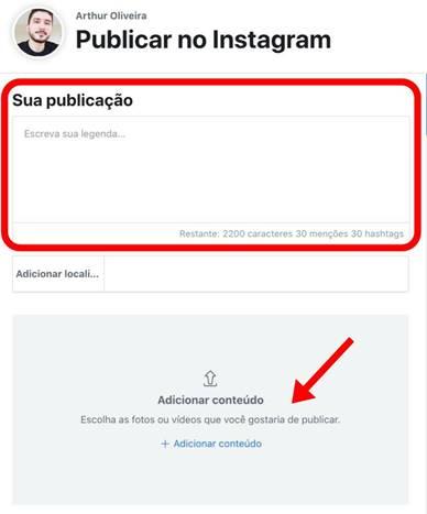 programar o instagram sua publicação e legenda