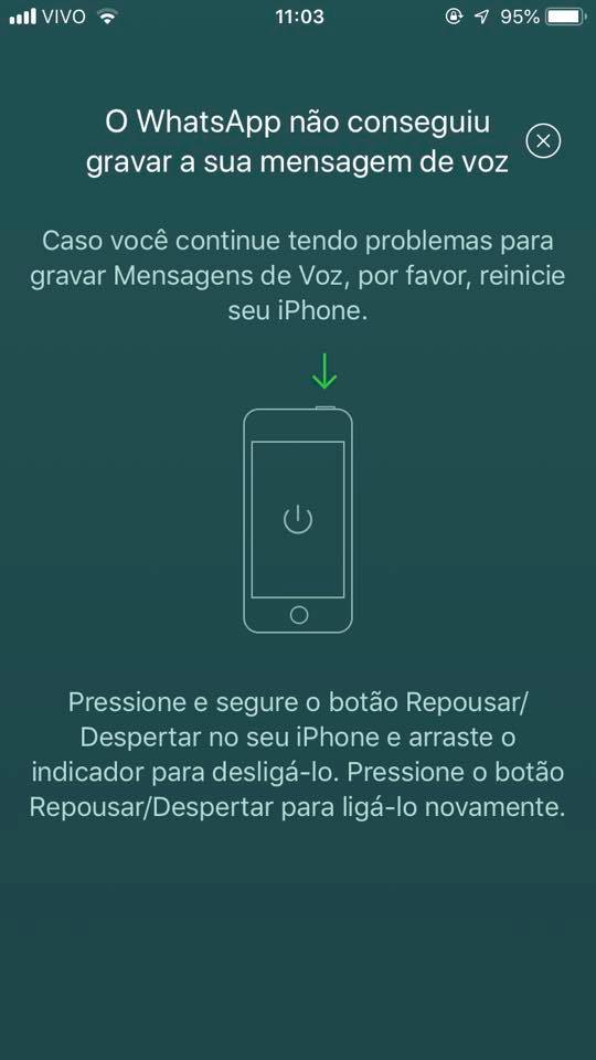iPhone: O Whatsapp não conseguiu gravar a sua mensagem de voz.