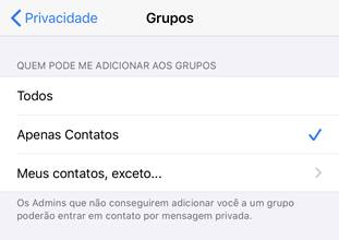 whatsapp impedir que adicionem em grupos