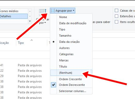 Windows 10: desativar a visualização de pastas por data