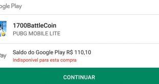 [Indisponível para esta compra] problema com saldo no Google Play