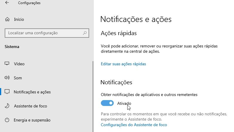 Notificações no Windows 10 não aparecem