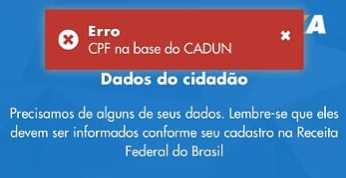 CPF na base do CADUN