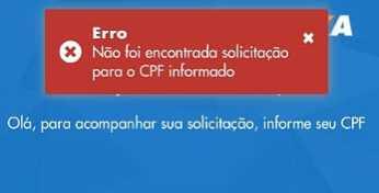 Não foi encontrada solicitação para o CPF informado