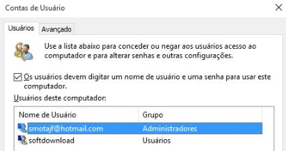 Os usuários devem digitar um nome de usuário e uma senha para usar este computador.