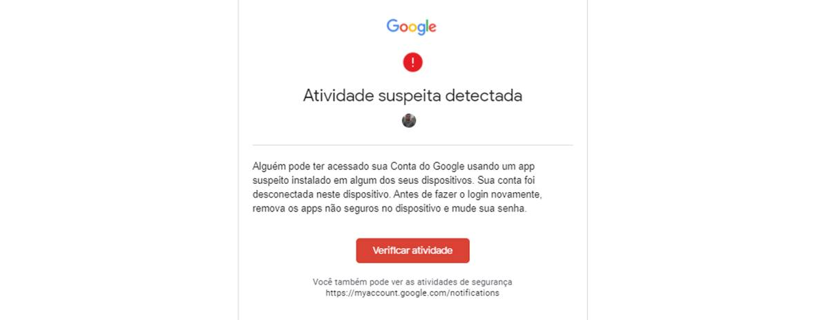 atividade suspeita detectada na conta do Google